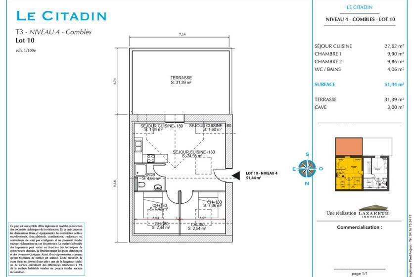 Vente Appartement 3 pièces 51m² Annemasse (74100) - photo