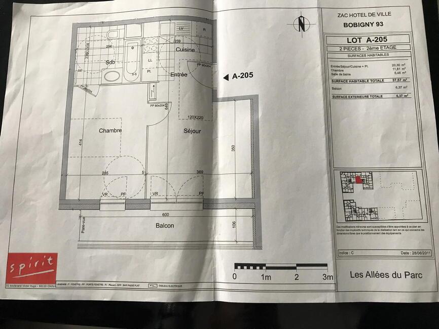 Vente appartement 2 pi ces bobigny 93000 305520 for Chambre commerce bobigny