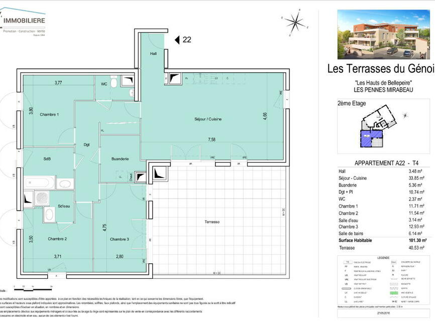 vente appartement 4 pi ces les pennes mirabeau 13170. Black Bedroom Furniture Sets. Home Design Ideas