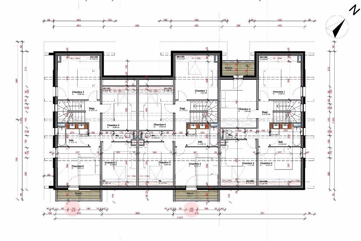 maison mitoyenne plan cool plan habill rdc maison maisons. Black Bedroom Furniture Sets. Home Design Ideas