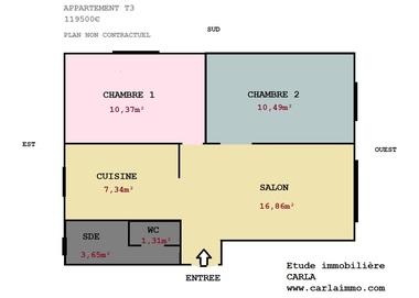 Vente Appartement 3 pièces 50m² Pierre-Bénite (69310) - photo
