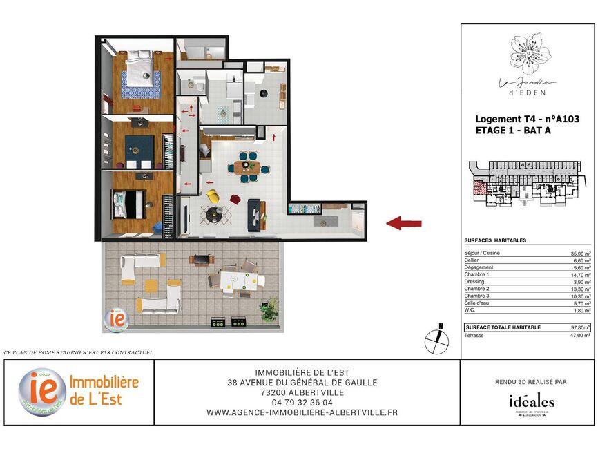 Vente Appartement 4 pièces 98m² Albertville (73200) - photo