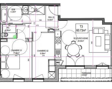 Vente Appartement 3 pièces 61m² Le Touquet-Paris-Plage (62520) - photo